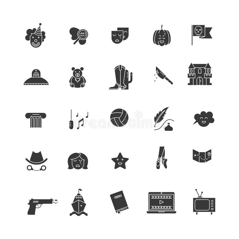 Film genre icon set. Vector set of movie genres pictogram isolated on white background. Different film genre elements perfect for infographic or mobile app vector illustration