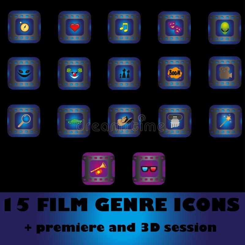 Film genre icons royalty free illustration