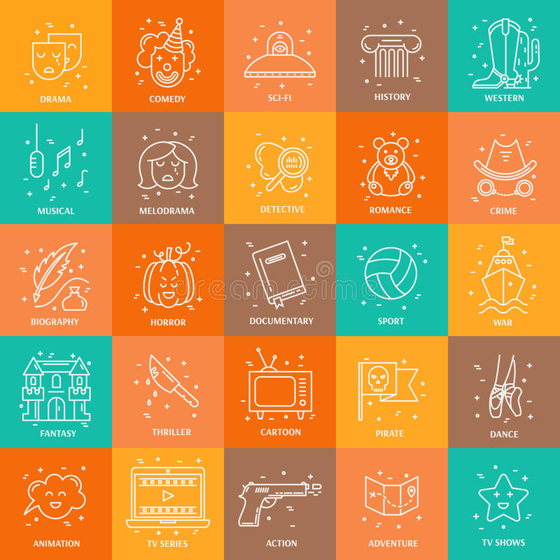 Film genre set. Vector set of movie genres line icons isolated on background. Different film genre elements perfect for infographic or mobile app stock illustration