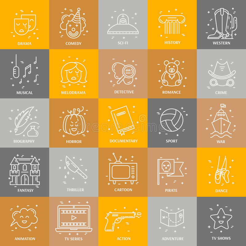 Film genre set. Vector set of movie genres line icons isolated on background. Different film genre elements perfect for infographic or mobile app royalty free illustration