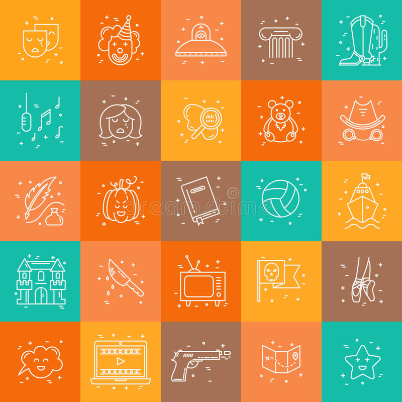Film genre. Vector set of movie genres line icons on background. Different film genre elements perfect for infographic or mobile app stock illustration