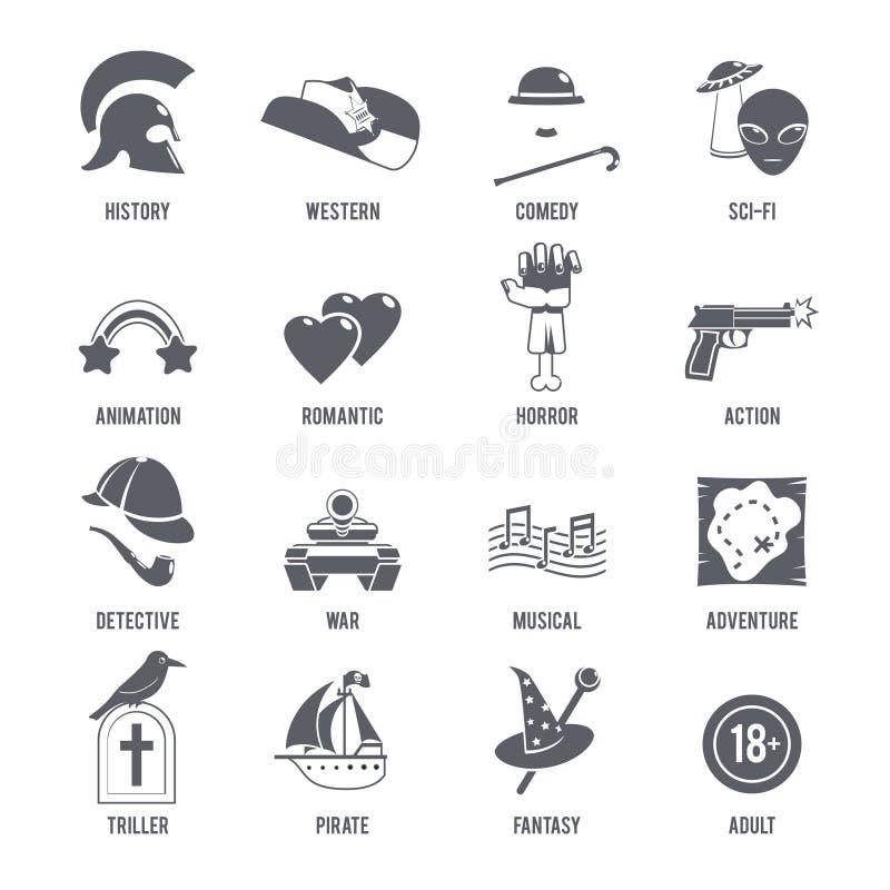 Film Genres Icons Black Set vector illustration