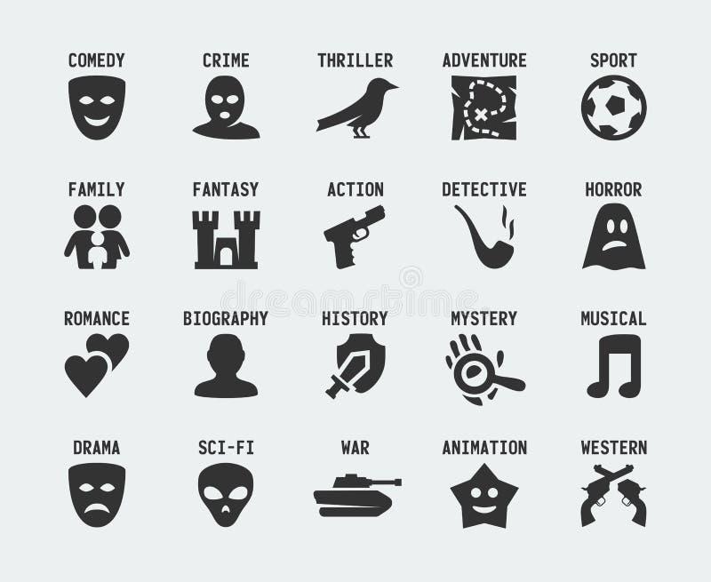 Film genres vector icon. Set vector illustration