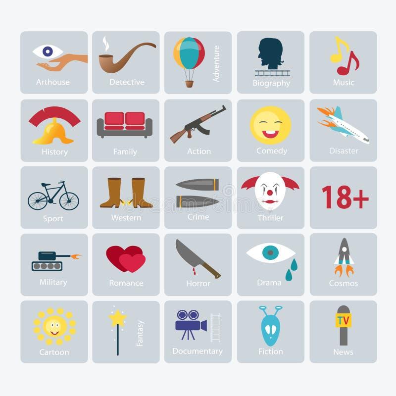 Film genres vector icon set royalty free illustration