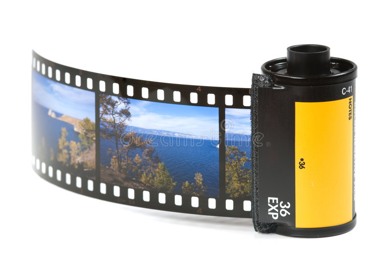 Film holder. With a slide film on white royalty free stock photo