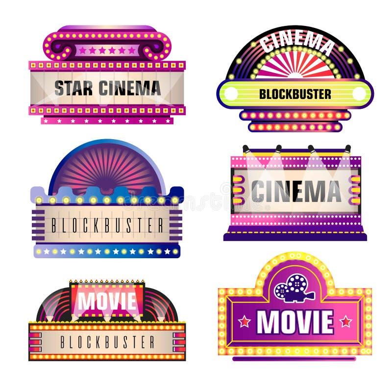 Film i kinowi retro wektorowi signboards ilustracji