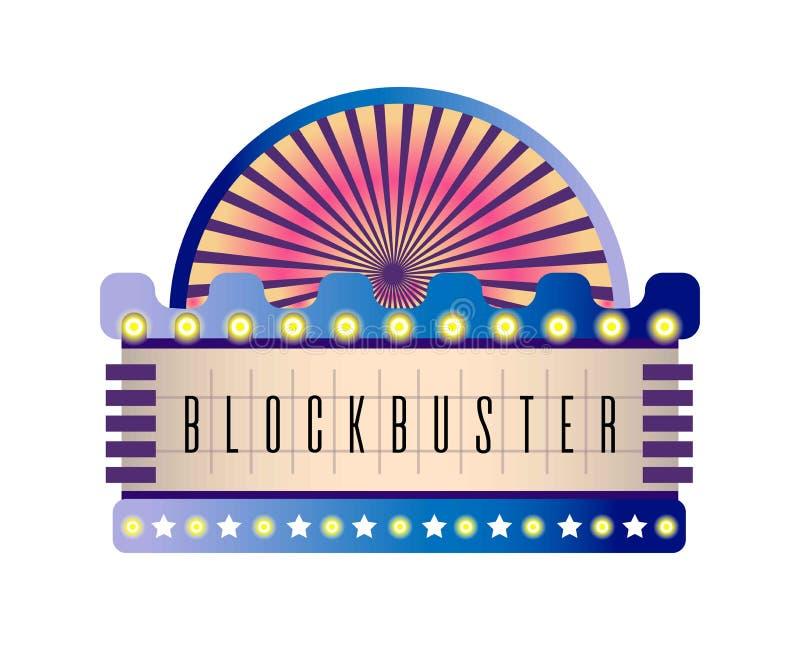 Film i kinowy retro signboard neonowe żarówki ilustracji