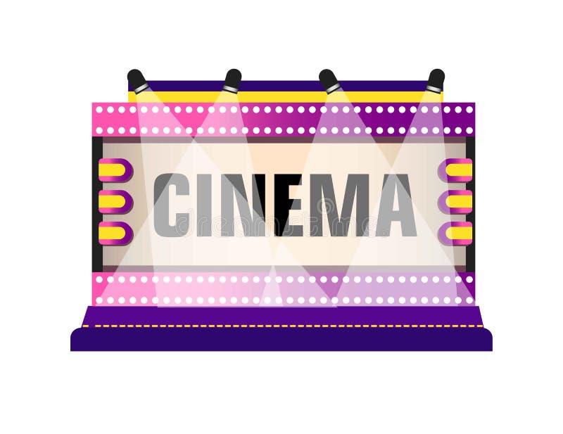 Film i kinowy retro signboard neonowe żarówki ilustracja wektor