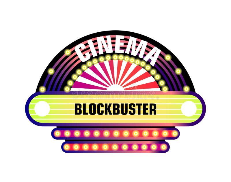 Film i kinowy retro signboard neonowe żarówki royalty ilustracja
