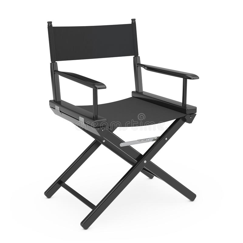 Film Industry Concept. Black Wooden Director Chair. 3d Rendering stock illustration