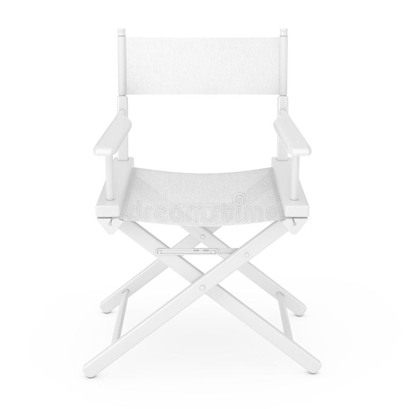 Film Industry Concept. White Wooden Director Chair in Clay Style. 3d Rendering stock illustration