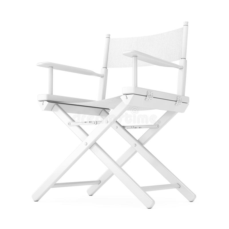 Film Industry Concept. White Wooden Director Chair in Clay Style. 3d Rendering royalty free illustration