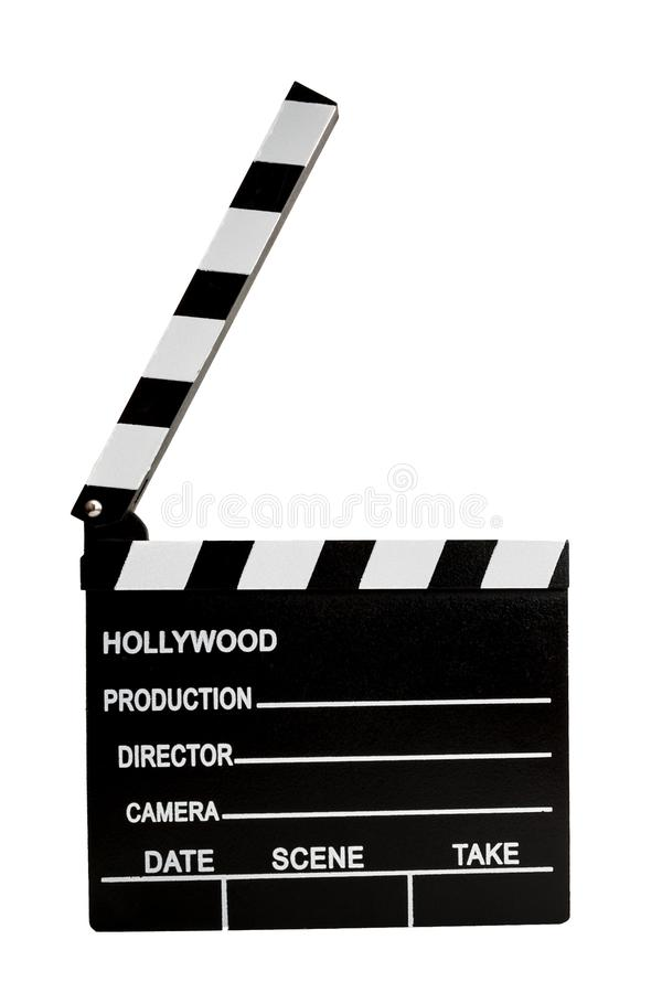 Film industry and directing a movie concept with a clapboard isolated on white with a clipping path cutout, in cinematography a royalty free illustration