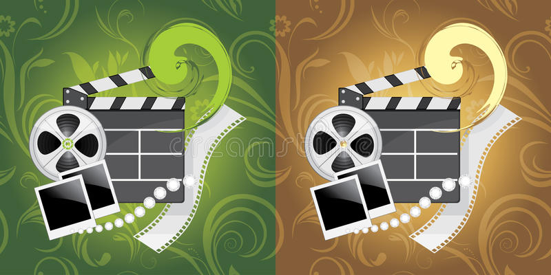 Film industry objects on the ornamental background royalty free illustration