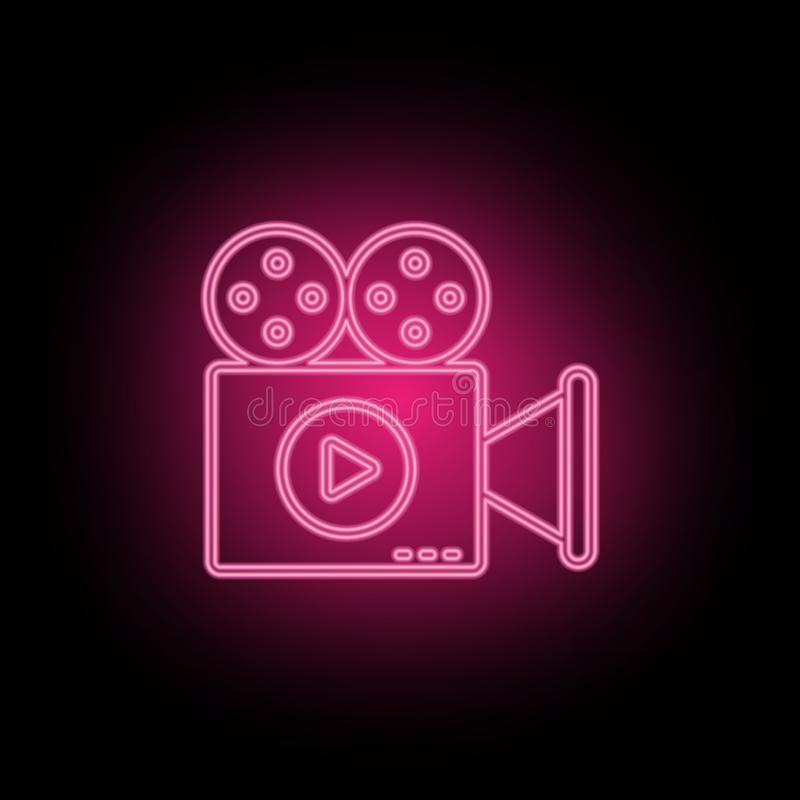 Film, introduction, video neon icon can be used to illustrate topics about SEO optimization, data analytics, website performace -. Vector on black background vector illustration