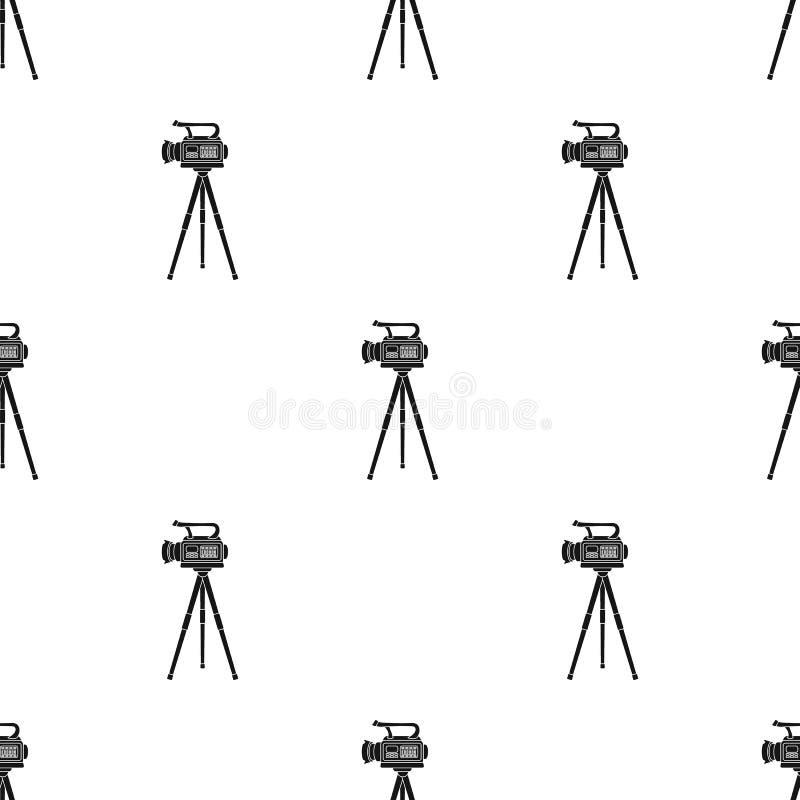 Film kamera na tripod Robić filmowi pojedynczej ikonie w czerń stylu wektorowym symbolu zaopatruje ilustracyjną sieć royalty ilustracja