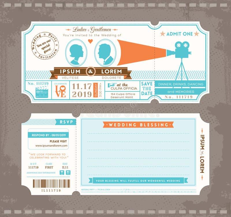 Film-Karten-Hochzeits-Einladungs-Design-Schablone stock abbildung