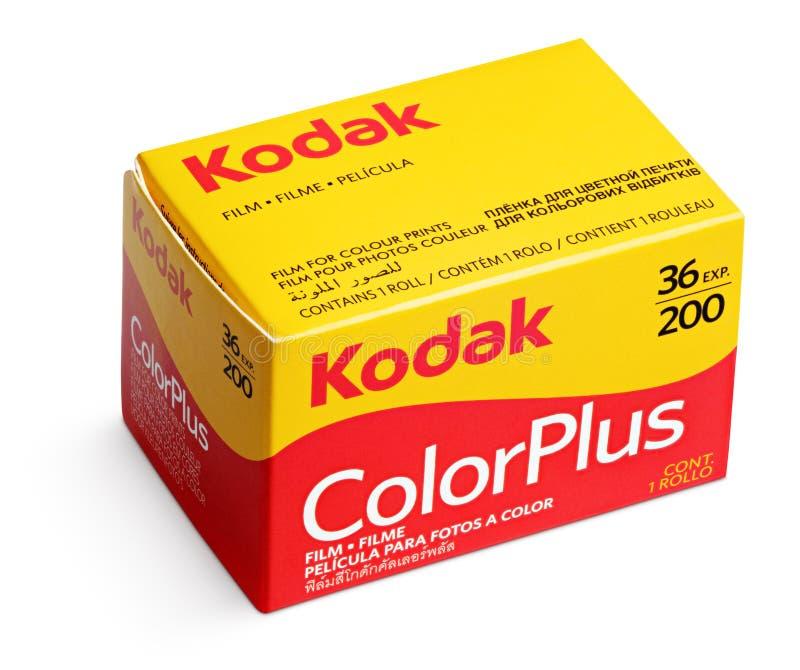 Film Kodaks ColorPlus lokalisiert auf weißem Hintergrund stockfotografie