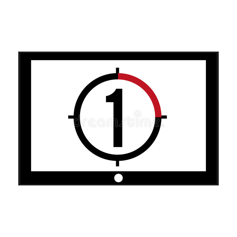 film leader countdown icon stock illustration