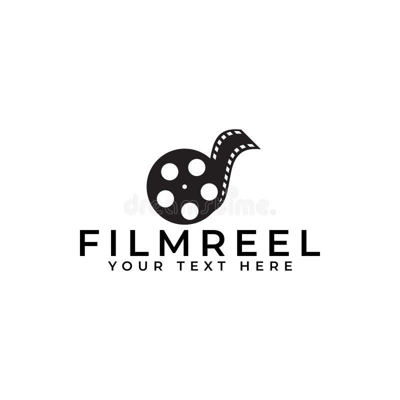 Film logo design template vector isolated illustration. Black, element, blank, retro, symbol, streaming, media, graphic, industry, concept, cinematography, art stock illustration
