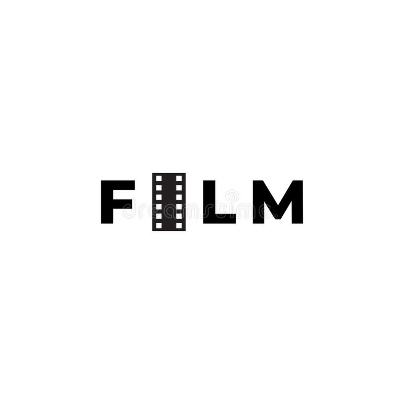 Film logo design template vector isolated illustration. Black, element, blank, retro, symbol, streaming, media, graphic, industry, concept, cinematography, art vector illustration