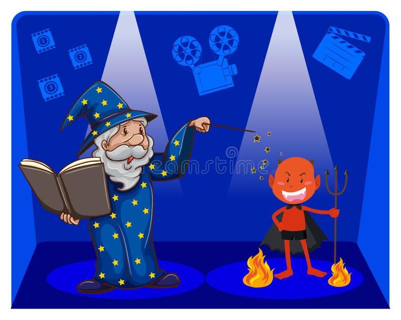 Film magia z czarownikiem i diabłem royalty ilustracja