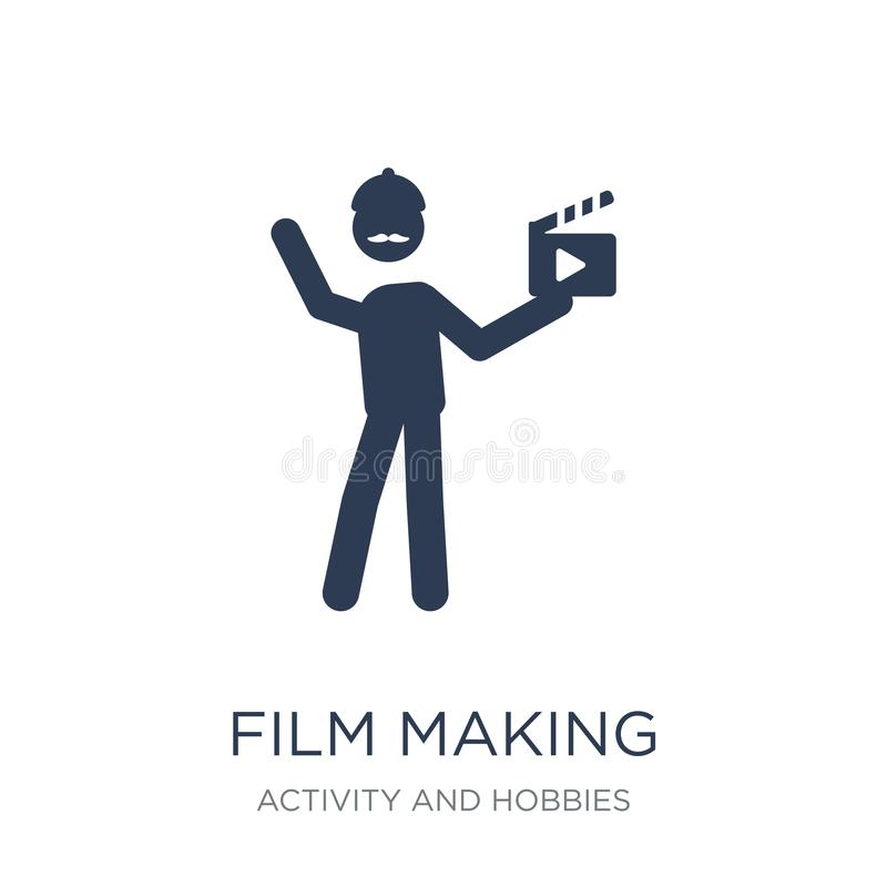 Film making icon. Trendy flat vector Film making icon on white b. Ackground from Activity and Hobbies collection, vector illustration can be use for web and royalty free illustration