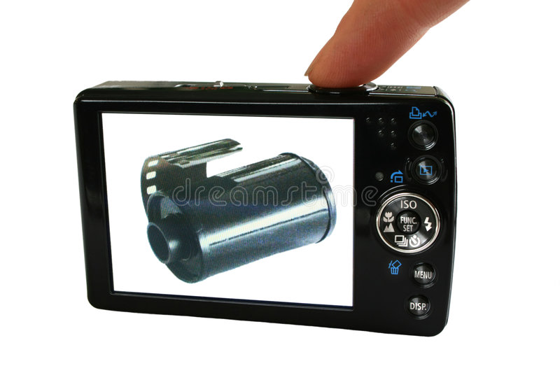 Film Meets Digital Photography. A digital camera displays its past stock photography