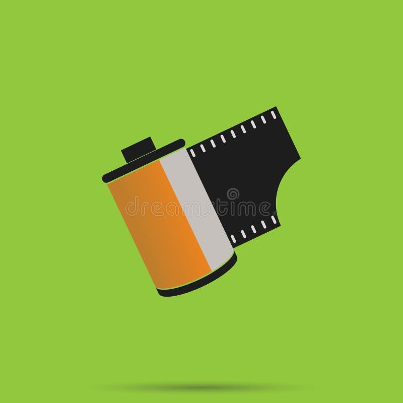 Film 35 millimetri, rotolo di film della macchina fotografica illustrazione vettoriale