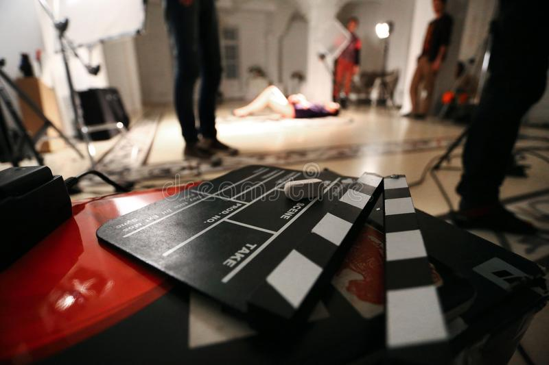 Film movie Background, clapperboard And video light in a studio. Backstage scene stock photos