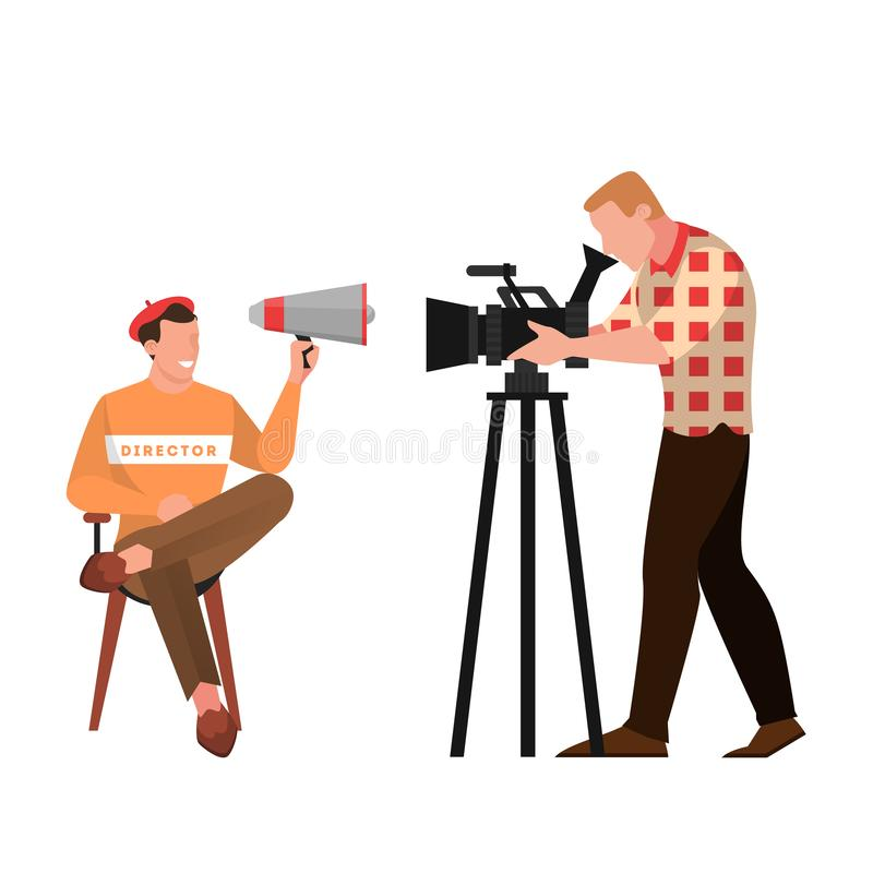 Film and movie director sitting on the chair. And speaking through the megaphone. Creative occupation, producer in cinema studio and cameraman. Isolated vector stock illustration