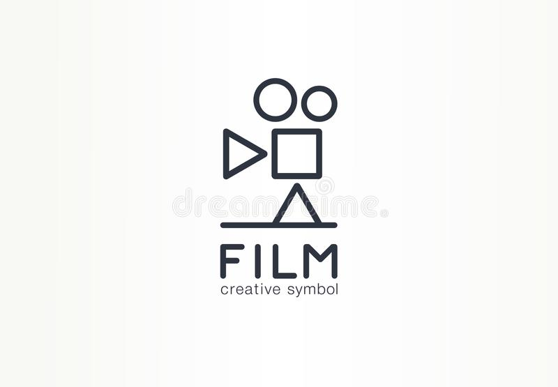 Film, movie industry creative symbol concept. Play, stop, pause button, cinema abstract business logo. Vintage video stock illustration