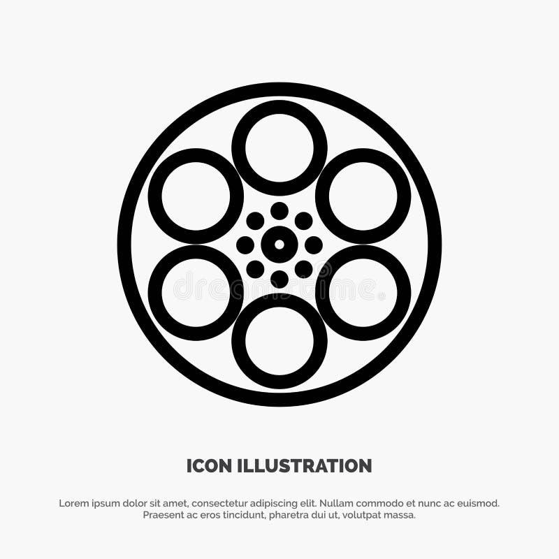 Film, Movie, Reel, Tank, Tape Line Icon Vector stock illustration