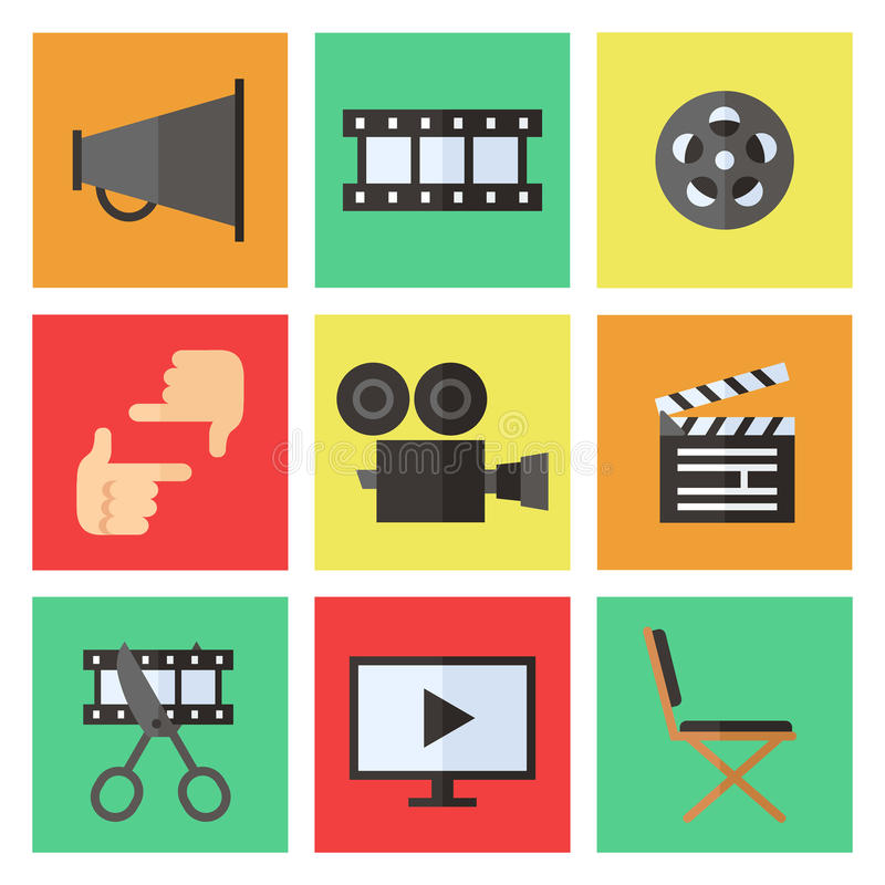 Film, movie and video flat multicolored icons vector set. Minimalistic design. Film, movie and video flat multicolored icons vector set. Modern minimalistic stock illustration