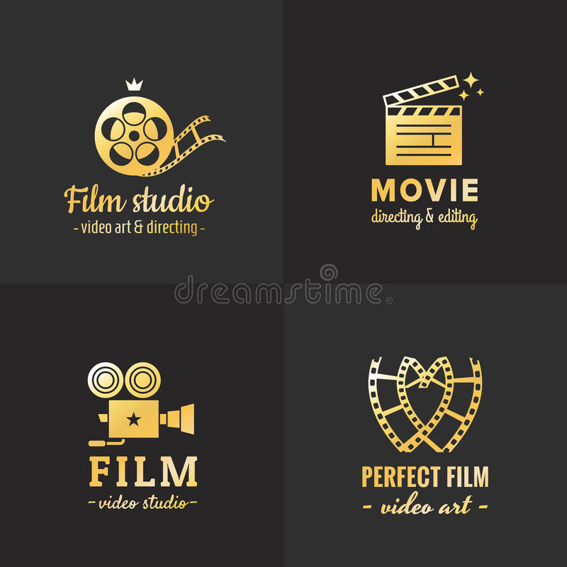 Film, movie and video logo vintage vector set. Part one. Film, movie and video logo vintage vector set. Hipster and retro style. Part one royalty free illustration
