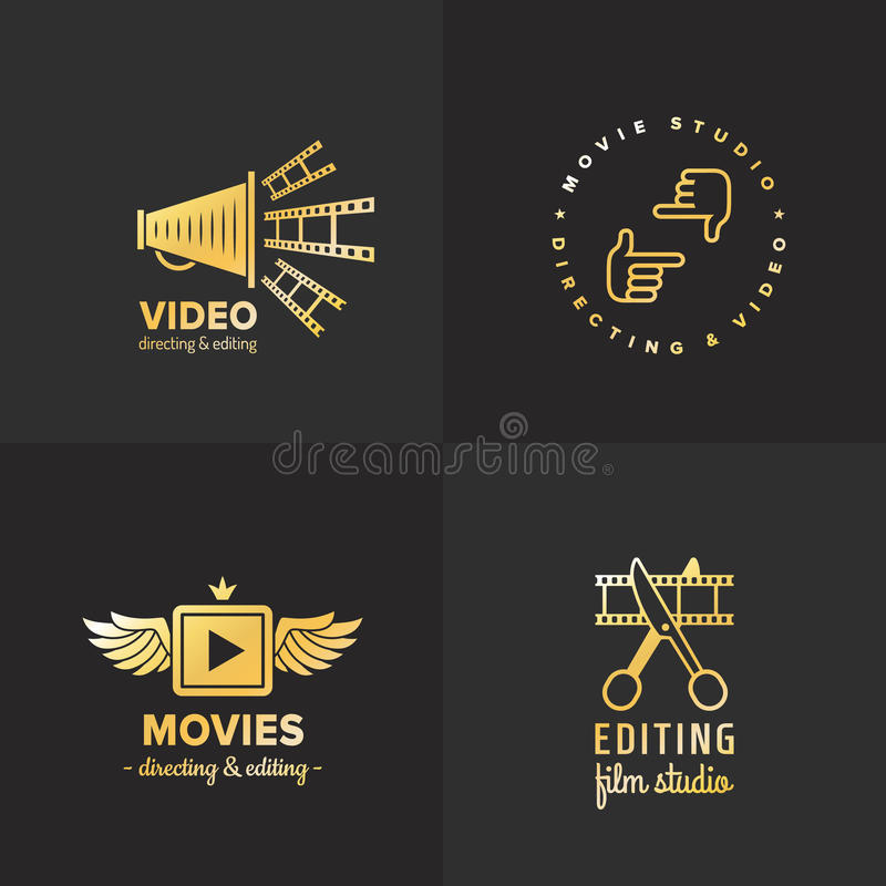 Film, movie and video logo vintage vector set. Part two. Film, movie and video logo vintage vector set. Hipster and retro style. Part two royalty free illustration