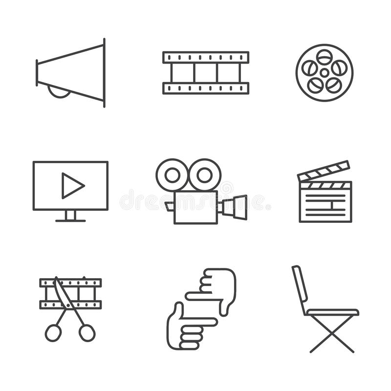 Film, movie and video outline icons vector set. Minimalistic design. stock illustration