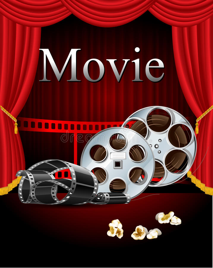 Film movies cinema with red curtain in the theater royalty free illustration