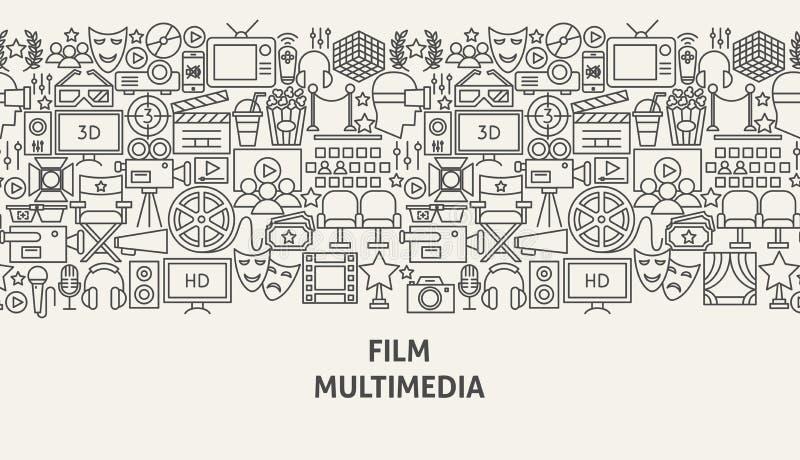 Film Multimedia Banner Concept. Vector Illustration of Line Web Design royalty free illustration
