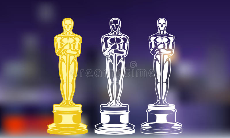 Film nagrody Set czarny i biały sylwetki nagroda ilustracja royalty ilustracja