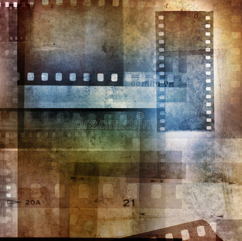 Film negatives. Grungy film negatives overlapping background stock images