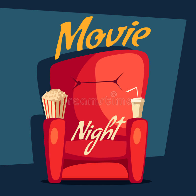 Film noc Domowy kinowy dopatrywanie obcy kreskówki kota ucieczek ilustraci dachu wektor royalty ilustracja