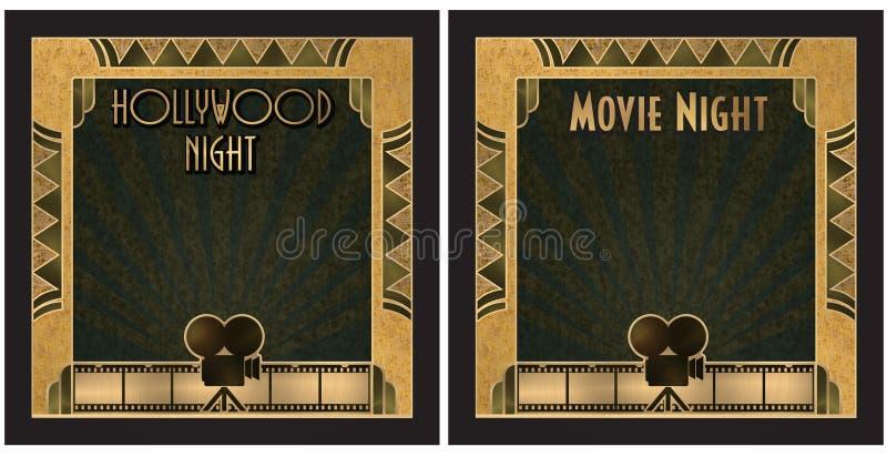 Film nocy Hollywood nocy zaproszenie ilustracja wektor
