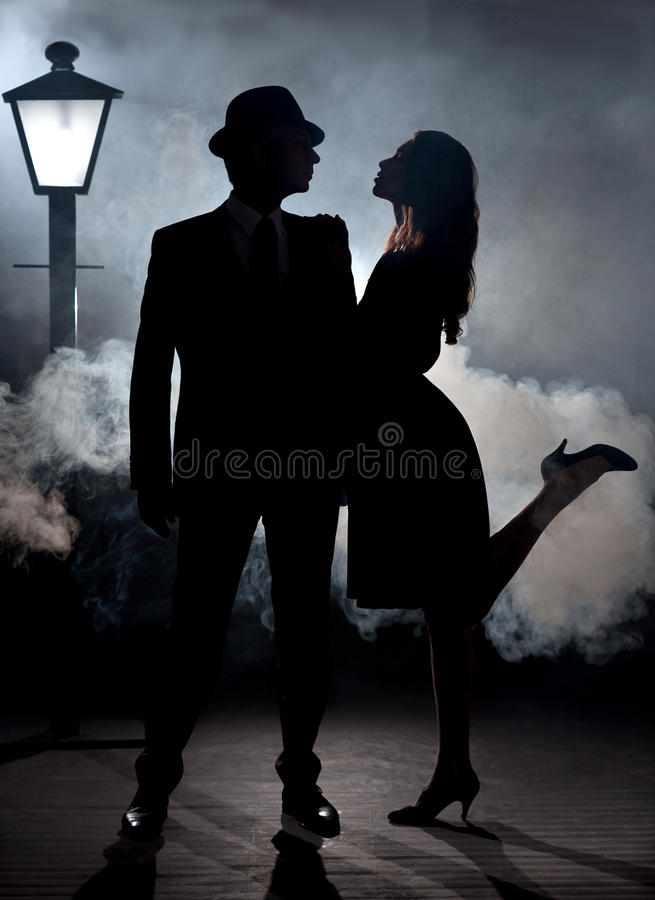 Film Noir Couple Lamppost Fog Stock Image Image Of Crime