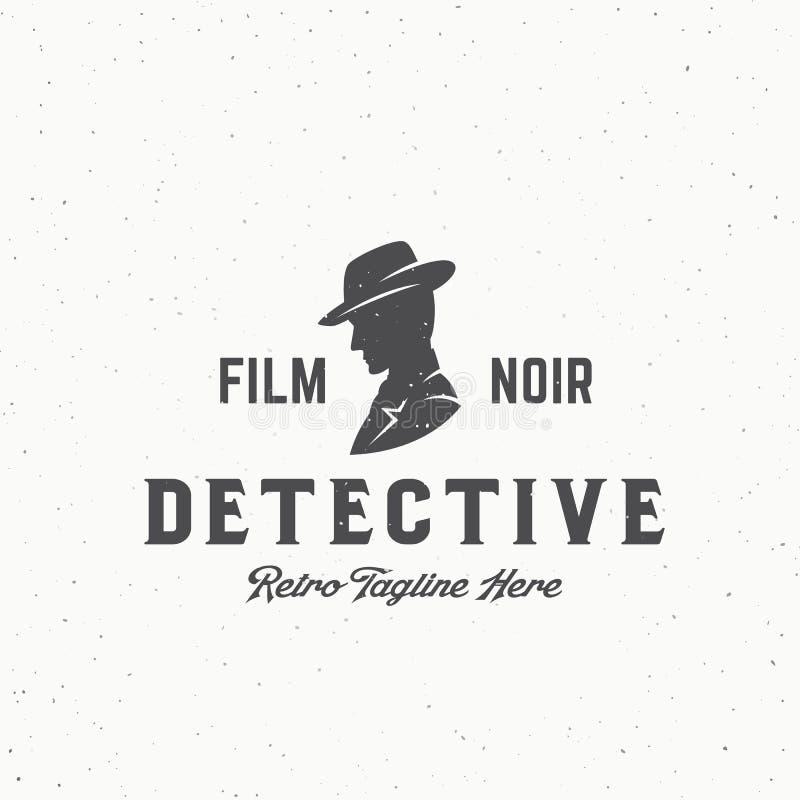 Film-Noir Detektiv-Abstract Vintage Vector-Emblem, Aufkleber oder Logo Template Mann in einem Hut-Schattenbild mit Retro- vektor abbildung