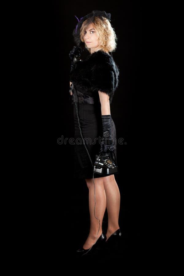 Film noir girl telephone royalty free stock photos