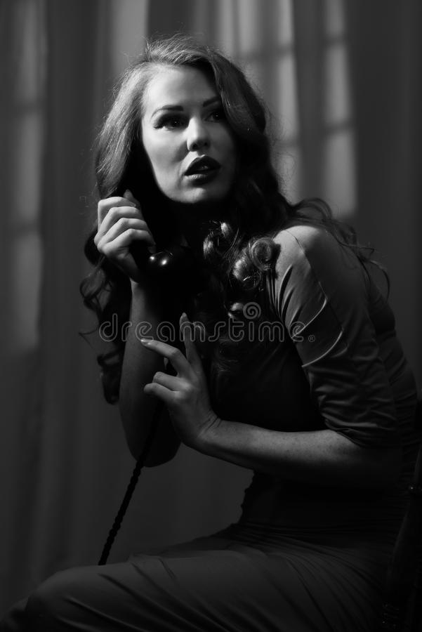 Woman On Telephone stock image  Image of phone, hair - 110300117
