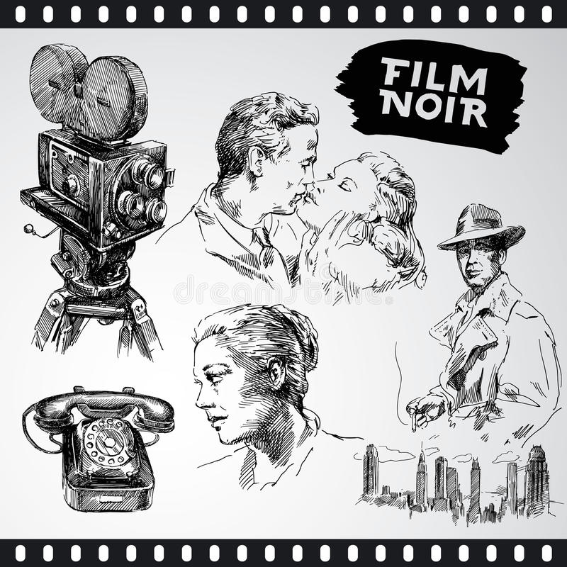 Film noir - vintage collection. Movie camera, film noir - hand drawn vintage collection royalty free illustration