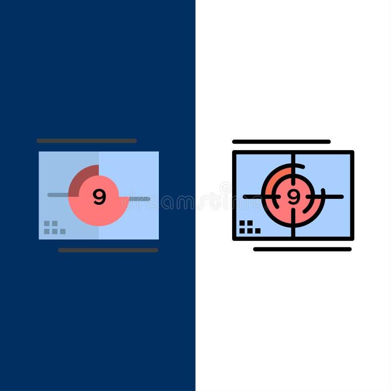 Film film, nummer, öppning, premiärsymboler Lägenheten och linjen fylld symbol ställde in blå bakgrund för vektorn stock illustrationer