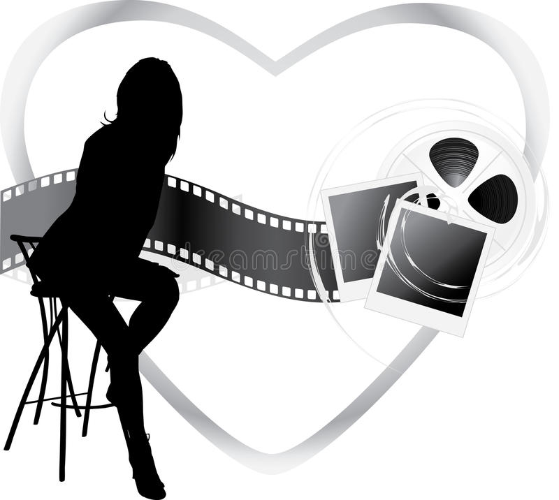 Download Film Objects And Silhouette Of Sitting Woman Stock Vector - Image: 23580370